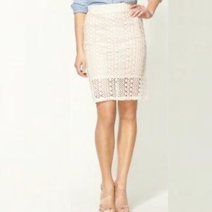 Free People Cream crotchet Lace Pencil Skirt